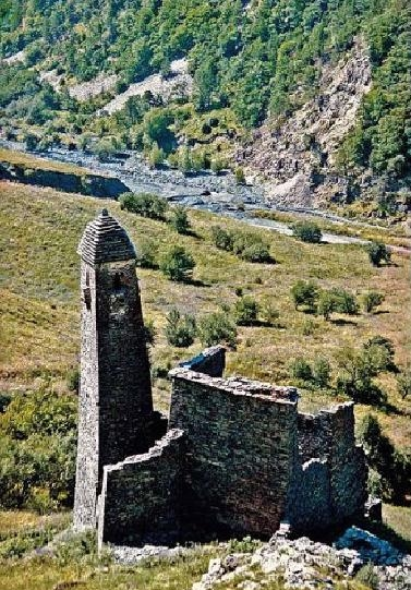 Ikalchu castle tower complex Chechnya Caucasus mountains eastern europe