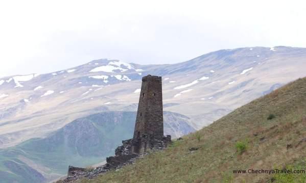 Ikalchu tower Chechnya Caucasus mountains