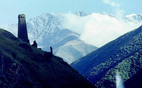 Ikalchu towers Chechnya Caucasus mountains