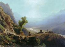 1870 In the Caucasus mountains Franz Roubaud North Caucasus mountains paintings