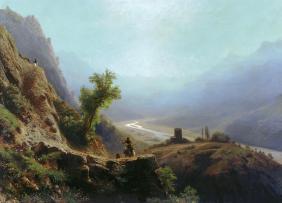 1870 In the Caucasus mountains Franz Roubaud North Caucasus mountains paintings
