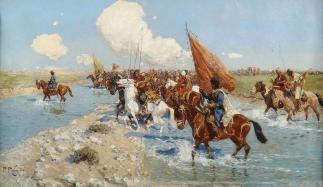 Frans Roubaud - Tscherkessenreiter überqueren einen Fluss Caucasian wars riders
