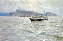 Franz Roubaud - A Steamboat on the Black Sea