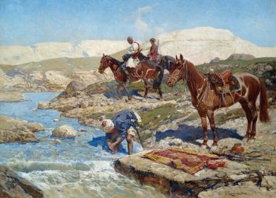 Franz Roubaud - Circassian Horsemen by a River