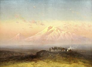 Ilya Nikolaevich Zankovsky carava at teh foot of Mount Ararat