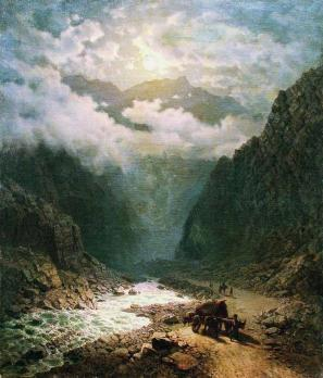 Ilya Zankovsky The river in the valley North Caucasus mountains paintings