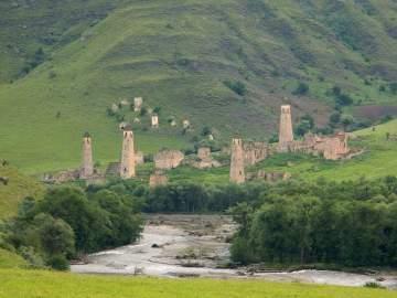 Ingushetia Targim towers Assa gorge north caucasus mountains beautiful scenery eastern europe