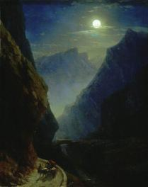 Ivan Aivazovsky. Dariali gorge on a moonlit night in 1868 North Caucasus mountains paintings