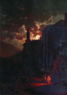 Moonlit Night Zankovsky Ilya Nikolayevich North Caucasus paintings