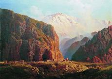Mountain valley lit by the sun North Caucasus paintings