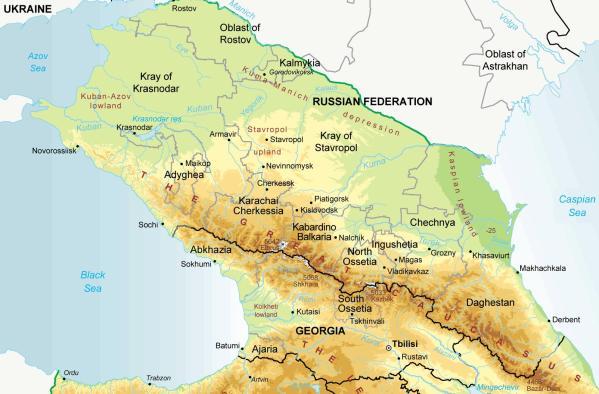 North Caucasus physical map Chechnya Ingushetia Stavropol Kabardino Balkaria Adygea Dagestan karachai-cherkessia