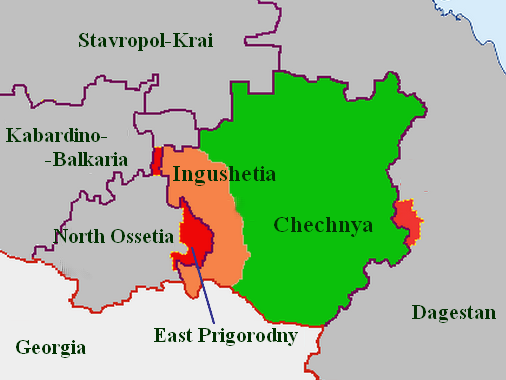 Map showcasing in red the territories handed over to neighboring republics after the 1944 Chechen-Ingush deportation and dissolution of their republic.