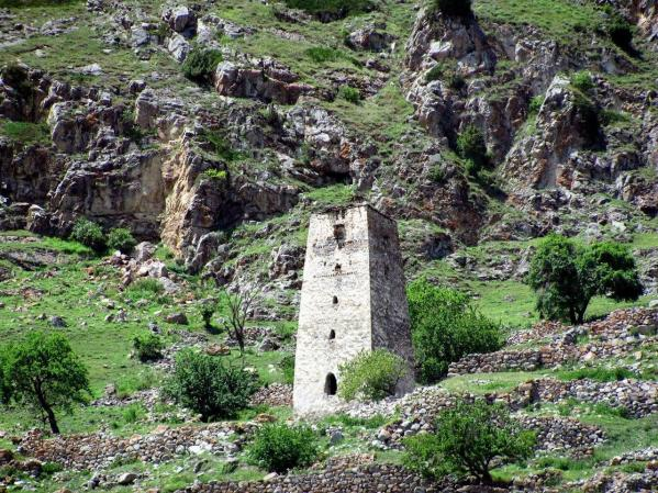 old tower Kabardino-Balkaria north caucasus mountains