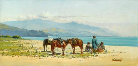 Richard Karlovich Zommer Resting by the Shore of Lake Kardyvatch