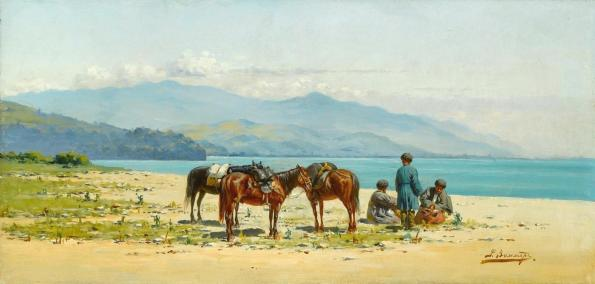 Richard Karlovich Zommer Resting by the Shore of Lake Kardyvatch