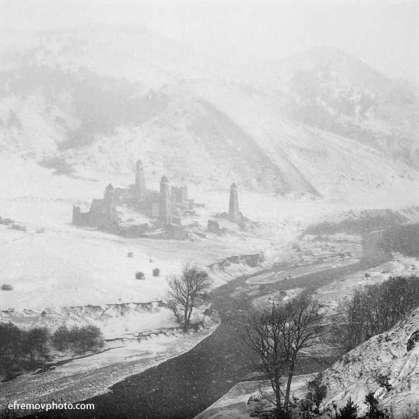 Targim towers winter Ingushetia Vainakh north caucasus mountains
