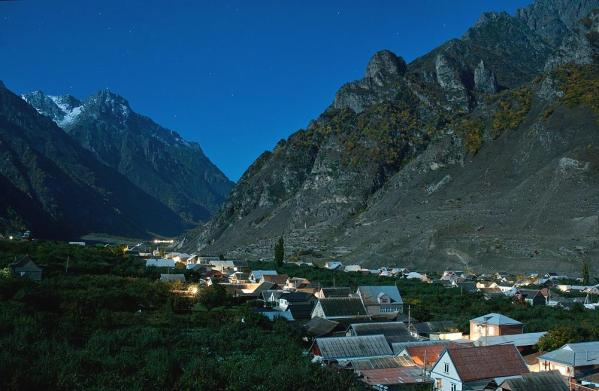 Upper Balkaria night caucasus mountains beautiful natural scenery