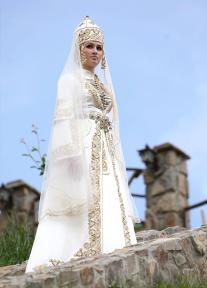 Balkar girl traditional wedding dress Caucasus people