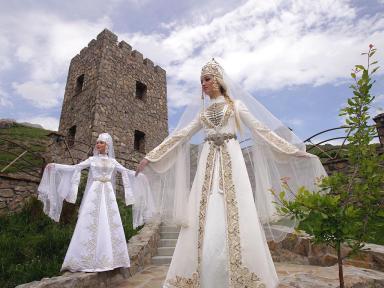 Balkar girls traditional dress Caucasus people