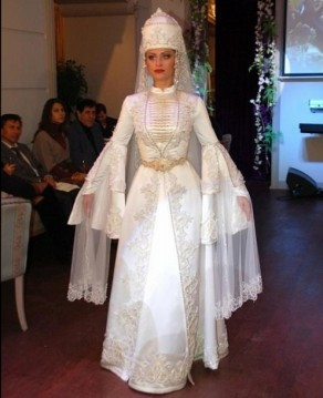 Balkar women traditional wedding dress Caucasus people