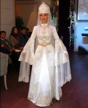 Balkar women traditional wedding dress Caucasus people