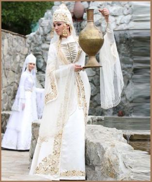 Karachay Balkar women traditional dress Caucasus people