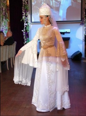 Karachay Balkar women traditional wedding dress Caucasus people