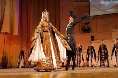 Karachay men women traditional costume Caucasus people