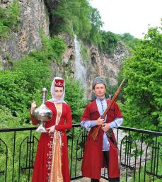 Karachay men women traditional costumes Caucasus mountains people