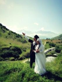 Karachay men women traditional wedding dress Caucasus mountains people
