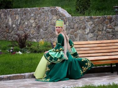 Karachay women traditional costume Caucasus people
