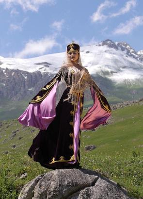 Karachay women traditional dress Caucasus mountains people