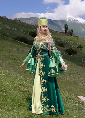 Karachay women traditional dress Caucasus people