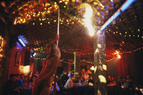 Russian stripper in a nightclub.