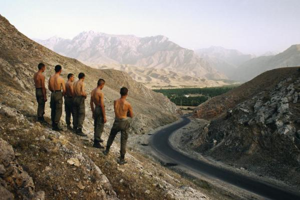 Uzbekistan Ferghana Valley 2002 An Uzbek border patrol surveys one of the valley's seven territorial enclaves. The myriad borders of the valley make it hard to control and ideal for smugglers.