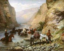 Caucasus mountains 19 century paintings Paul Osipovich Kovalevsky
