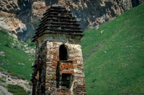 Ingushetia medieval Nij tower top balcony North Caucasus mountains