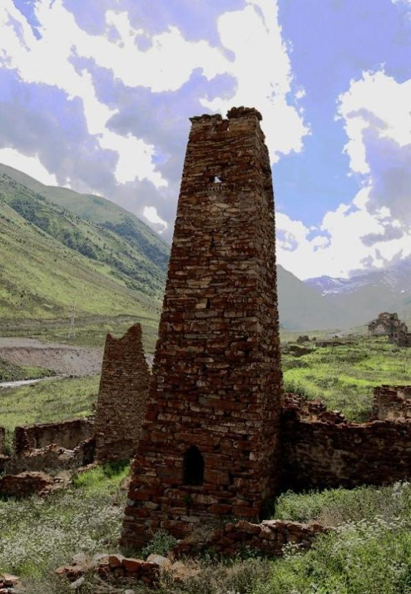 Lisri tower Mamison gorge North Ossetia Caucasus mountains eastern europe