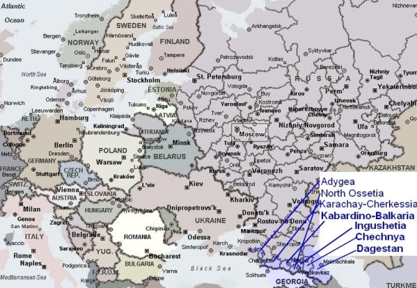 North Caucasus and its small republics next to Russia and Europe map (CLICK IMAGE FOR LARGER VIEW)